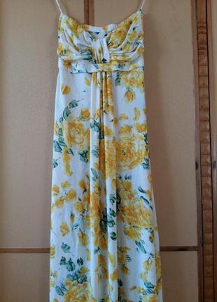 Платье-бандо в жёлтые розы