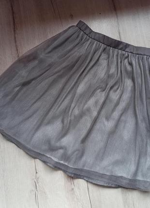 Серебристая фатиновая юбка сразу его пустил