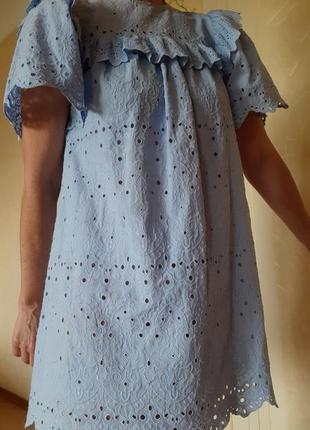 Батистовое  свободное платье прошва от h&m