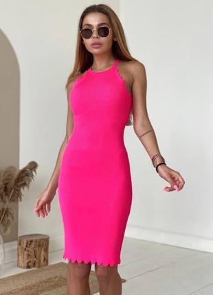 Платье миди в рубчик фуксия