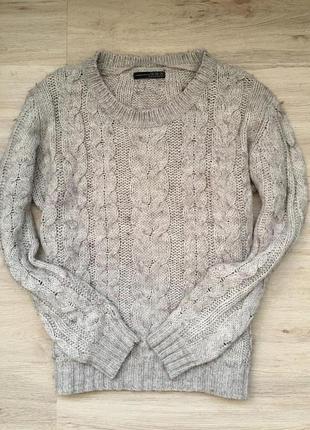 Очень стильный и тёплый свитерок в косах