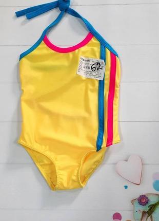 Яскравий суцільний купальник  для дівчинки 9-12 місяців.