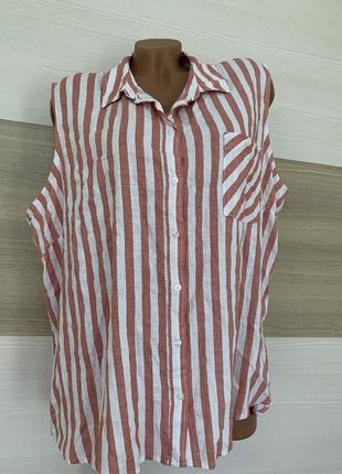 Туника блуза рубашка на пуговицах в полоску xl-4 xl