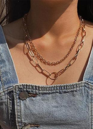 Многослойная цепочка цепь на шею с кольцом колье подвеска замок чокер ланцюжок кулон