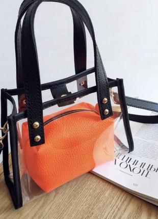 Силиконовая прозрачная сумка с оранжевой косметичкой с плечевым ремнём кроссбоди