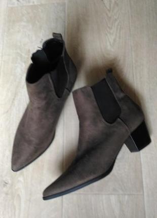 Ботинки челси dorothy perkins, хаки, текстиль под замш, размер 39