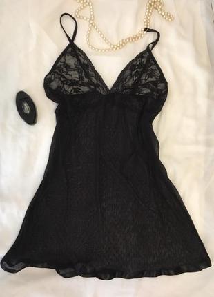 Шикарный черный ажурный пеньюар от sotela