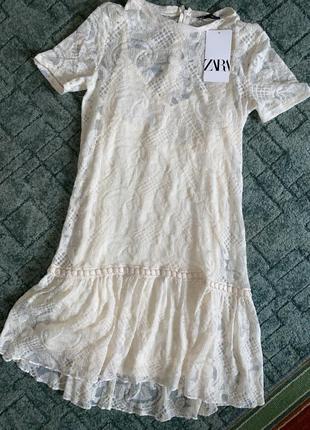 Классное кружевное платье zara2 фото