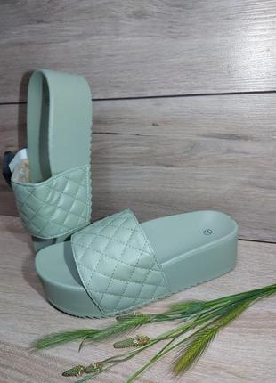 Шлепанцы текстиль 🌿 сандалии платформа сланцы
