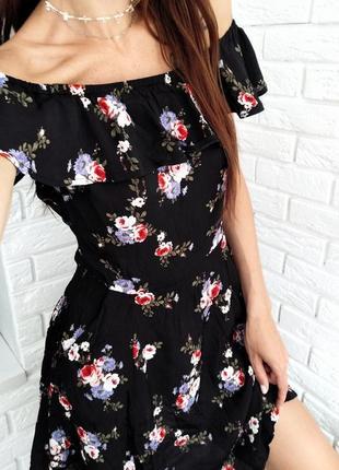 Летнее платье в цветочек на плечи с рюшами
