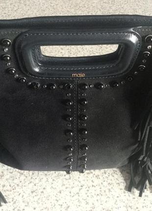 Замшевая сумочка- клатч с бахромой /brend maje