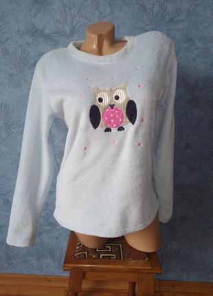 Теплая мягкая махровая пижамная кофта с совой