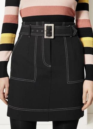 Новая чёрная юбка с контрастным швом большого размера marks & spencer 1+1=3