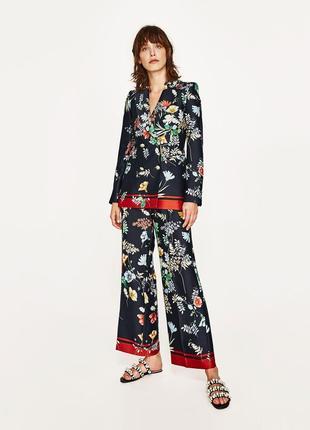 Пиджак жакет блейзер zara basic collection размер m марокко принт цветы