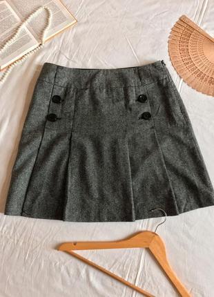Классическая серая юбка в складку из шести и хлопка yessica (размер 12/40)