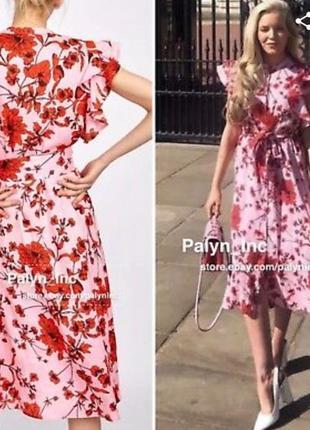 Zara лён pink платье в цветочный принт