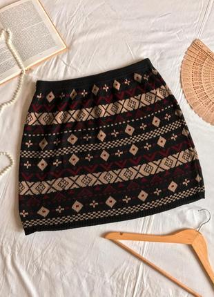 Эксклюзивная тёплая трикотажная юбка прямого кроя f&f (размер 40-42)