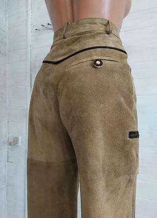 Высокие классные штаны из натуральной кожи
