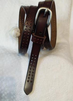 Узкий кожаный пояс коричневый ремень шоколад