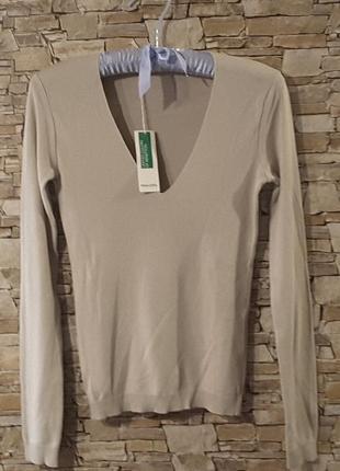 Пуловер , 100 хлопок , размер xs, united colors of benetton, италия
