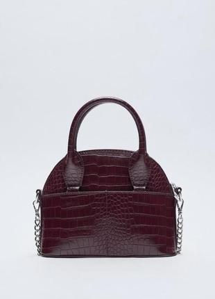 Шикарная новая маленькая сумка бордо из экокожи на цепочке