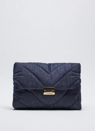 Шикарная большая джинсовая стёганая сумка zara