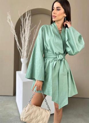 Платье халат кимоно лён