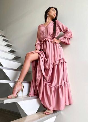 Платье вечернее с рюшами фрез