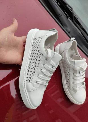 Легкие летние кожаные кроссовки с перфорацией р.36-39 наложенный платеж