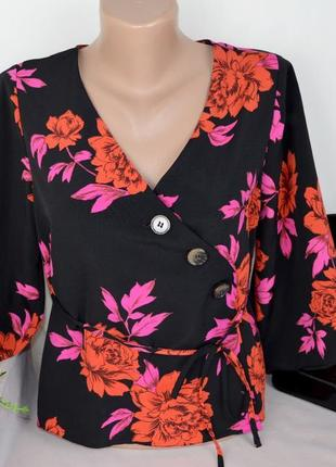 Брендовая черная блуза primark марокко принт цветы этикетка