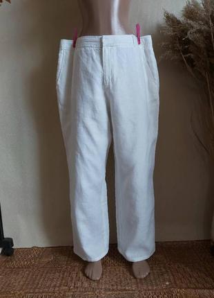 Фирменные monsoon просторные белоснежные штаны со 100 % льна, размер 3-4хл