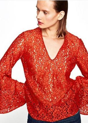 Брендовая блуза zara woman турция кружево коттон вискоза этикетка