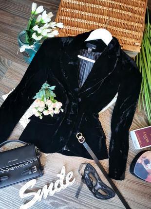 🤩распродажа! шикарный чёрный бархатный пиджак в стиле винтаж 1014