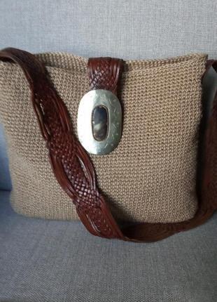 Сумка шоппер хендмейд, сумка ручной работы на лето, винтажная сумка