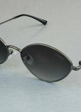 Cartier очки унисекс солнцезащитные модные узкие черные с градиентом в металле