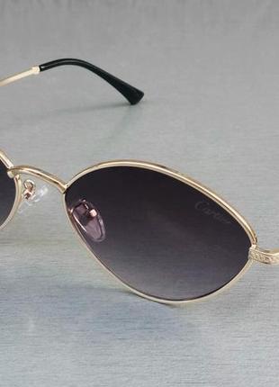 Cartier очки унисекс солнцезащитные модные узкие темно серый градиент в золотом металле