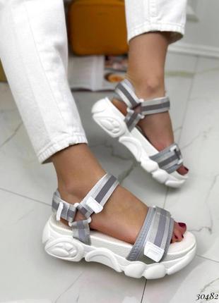 Босоножки шлепанцы текстиль белый спортивные сандалии сандали на высокой подошве