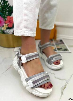 Босоножки шлепанцы текстиль белый спортивные сандалии сандали на высокой подошве6 фото