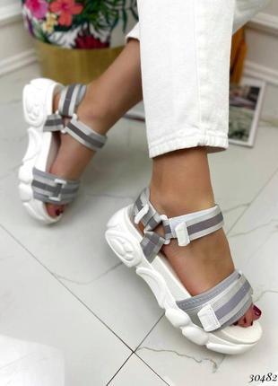 Босоножки шлепанцы текстиль белый спортивные сандалии сандали на высокой подошве4 фото