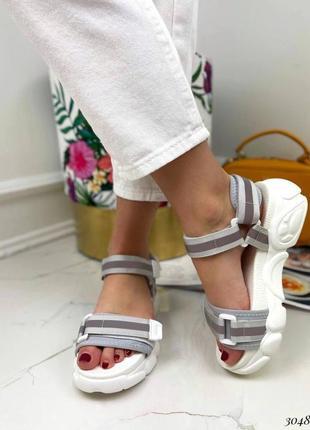 Босоножки шлепанцы текстиль белый спортивные сандалии сандали на высокой подошве5 фото