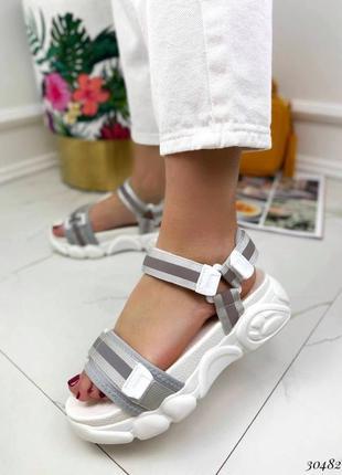 Босоножки шлепанцы текстиль белый спортивные сандалии сандали на высокой подошве7 фото