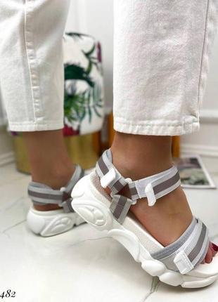 Босоножки шлепанцы текстиль белый спортивные сандалии сандали на высокой подошве8 фото
