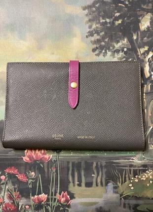 Celine оригинал серый кожаный кошелек клатч
