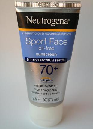 Neutrogena спортивный безмасляный лосьон для лица солнцезащитный крем spf 70+