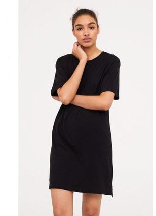 Чёрное платье футболка от h&m
