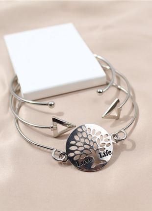 Набор серебристых браслетов дерево жизни 3шт брендовая бижутерия сток