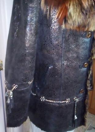 Натуральная дубленка с перламутровым напылением/шуба/пальто/куртка/пуховик/дубленка/шапка/юбка/джинс6 фото