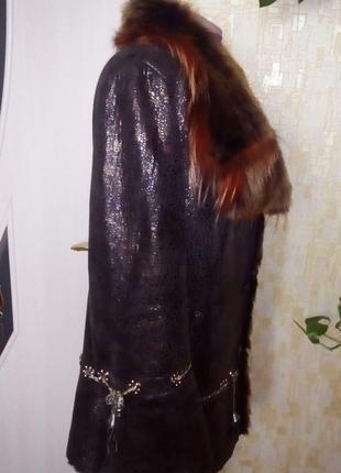 Натуральная дубленка с перламутровым напылением/шуба/пальто/куртка/пуховик/дубленка/шапка/юбка/джинс5 фото