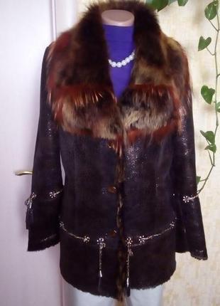 Натуральная дубленка с перламутровым напылением/шуба/пальто/куртка/пуховик/дубленка/шапка