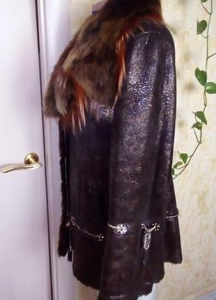 Натуральная дубленка с перламутровым напылением/шуба/пальто/куртка/пуховик/дубленка/шапка/юбка/джинс3 фото